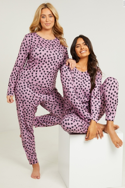 Pink Heart Print Long Pyjama Set